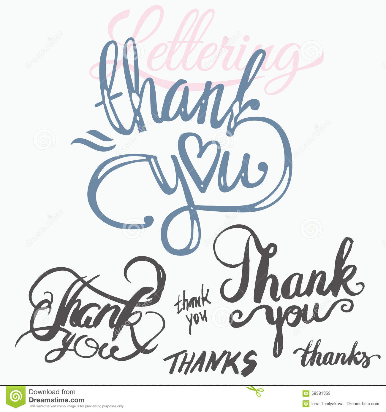 Thank You Hand Lettering Handmade Calligraphy Stock Vector