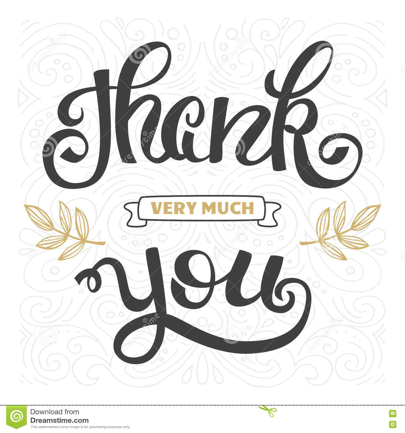Thank You Hand Lettering Sign For A Card Template