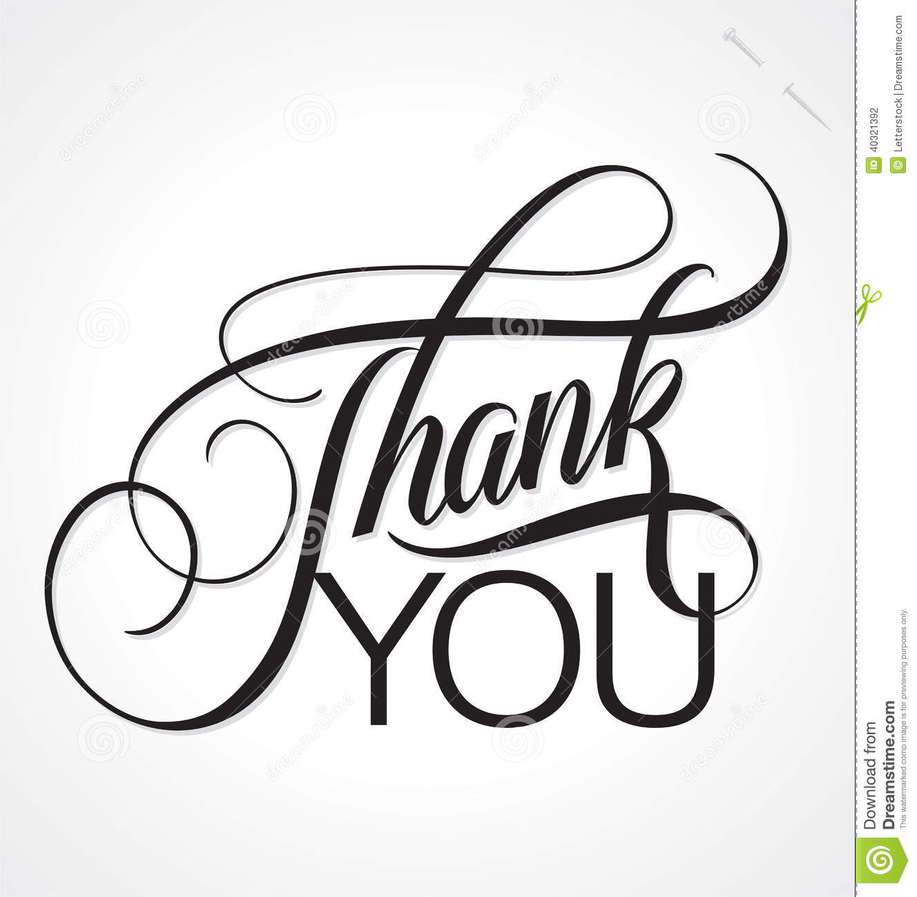 THANK YOU Hand Lettering Vector Stock