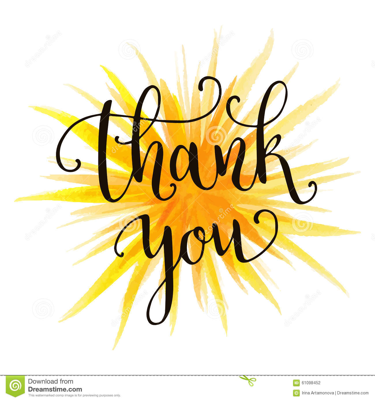 Thank You Hand Lettering Stock Vector Image 61098452