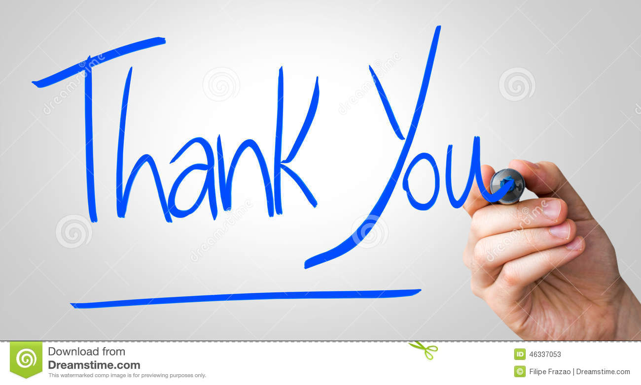 thank you hand writing with a blue mark on a transparent