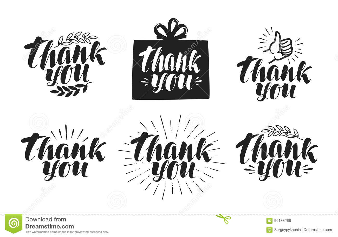 Thank you label set handwritten beautiful writing Thank you in calligraphy writing