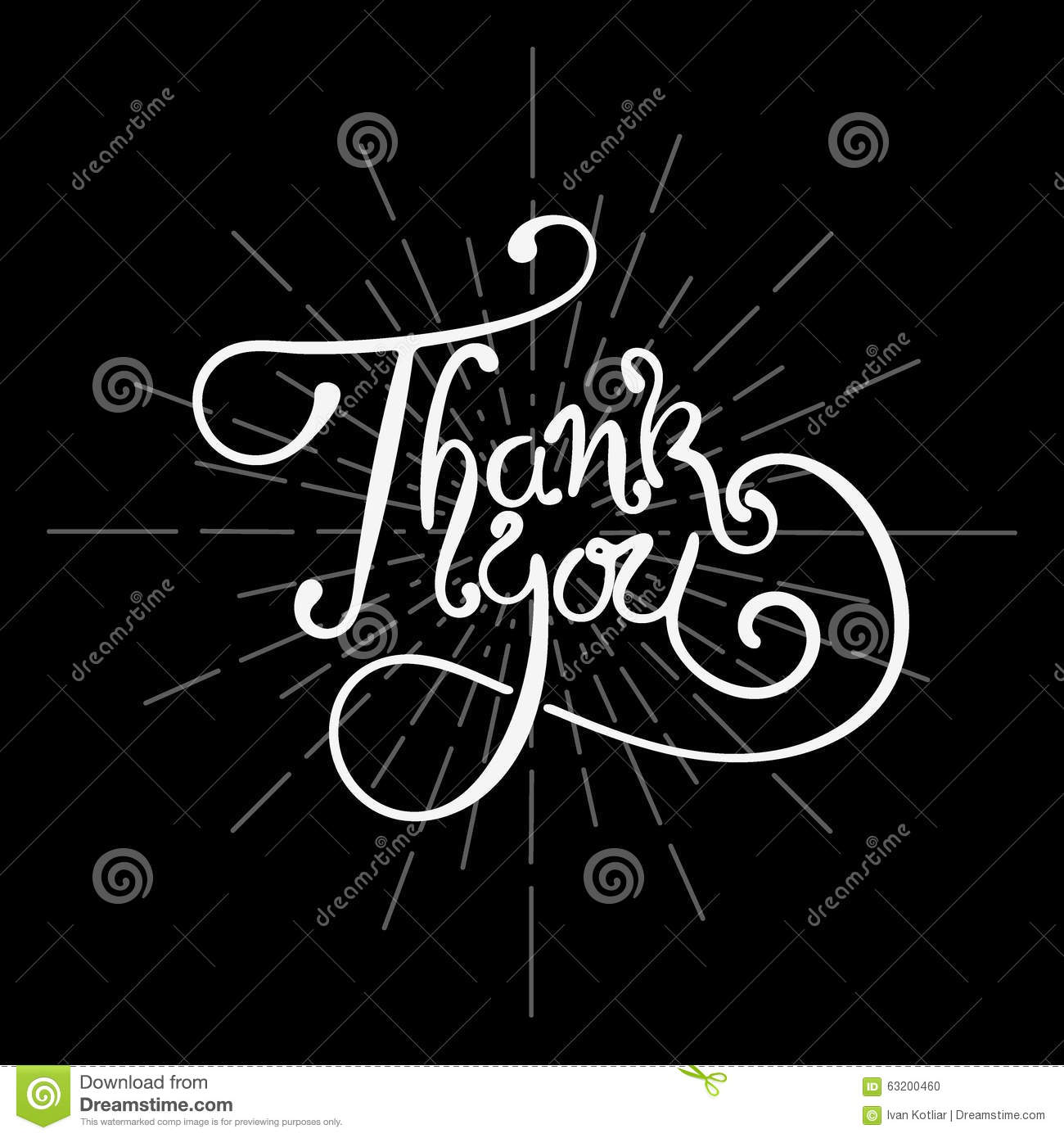 Thank you lettering stock vector image of script letter Thank you in calligraphy writing