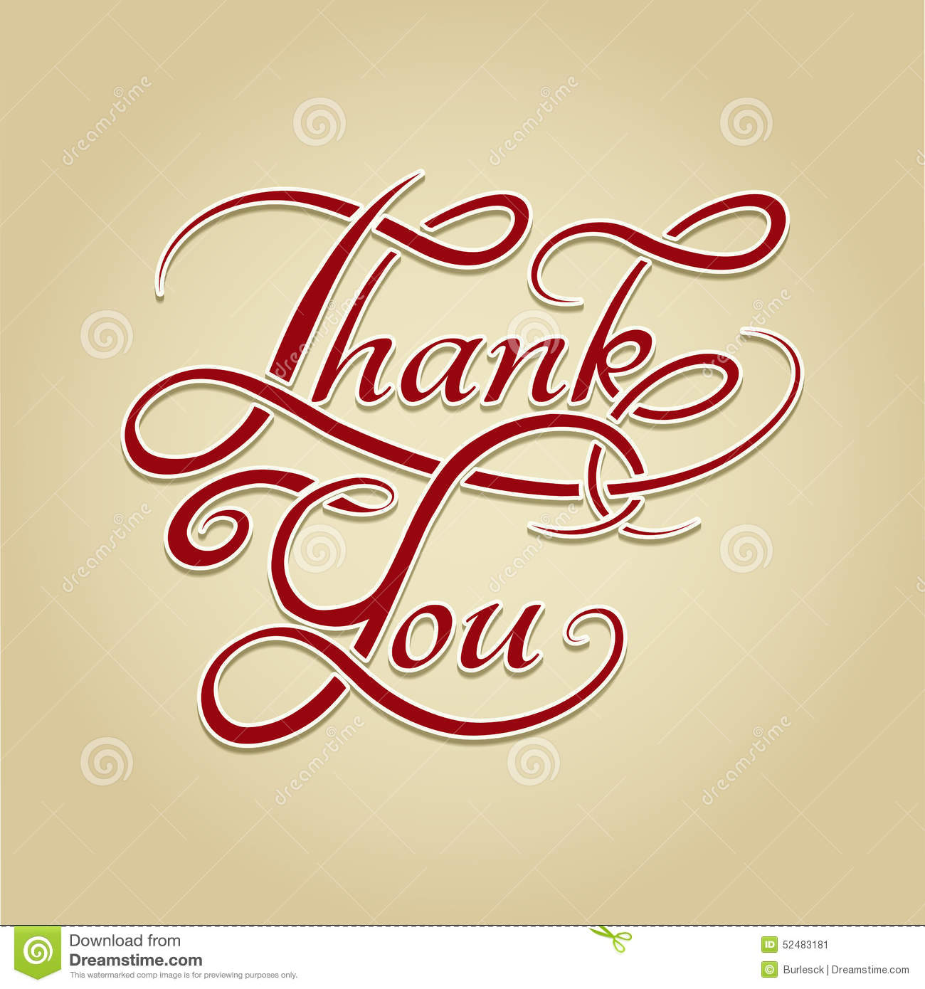 Thank you lettering retro calligraphy stock vector image