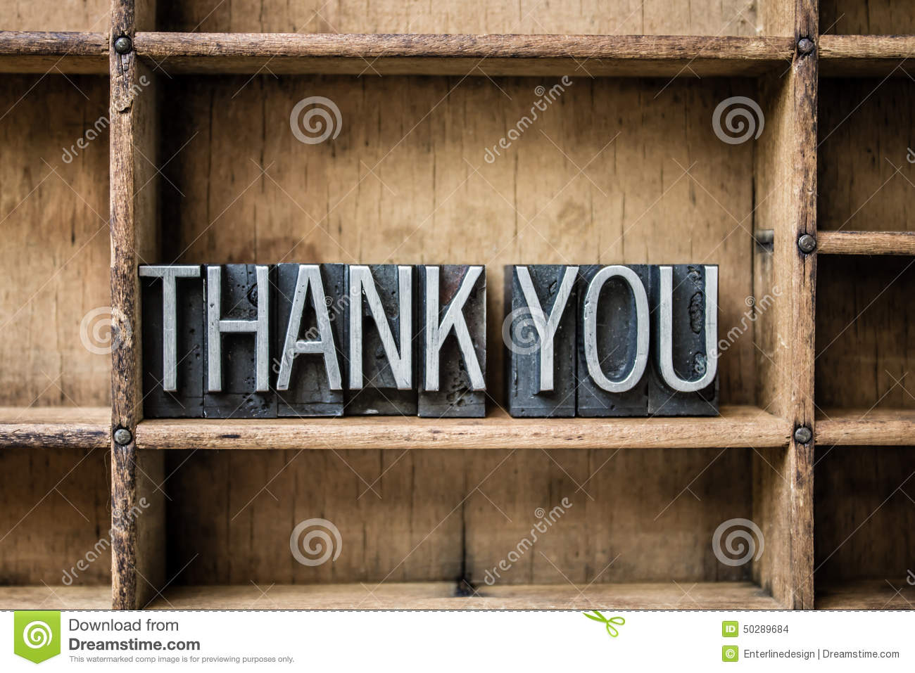 thank you letterpress type in drawer stock photo
