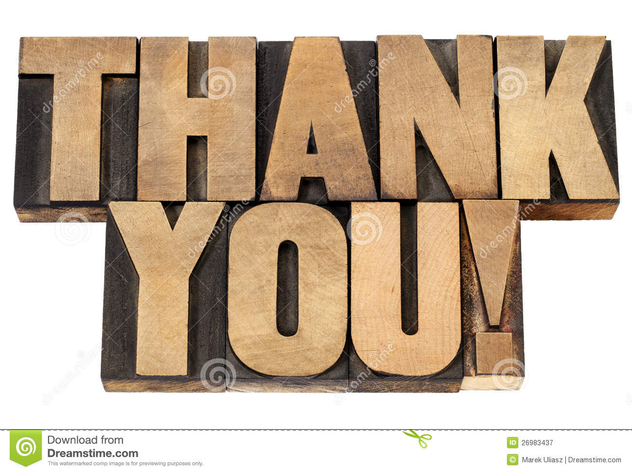 Thank You In Letterpress Wood Type Stock Image - Image of ...