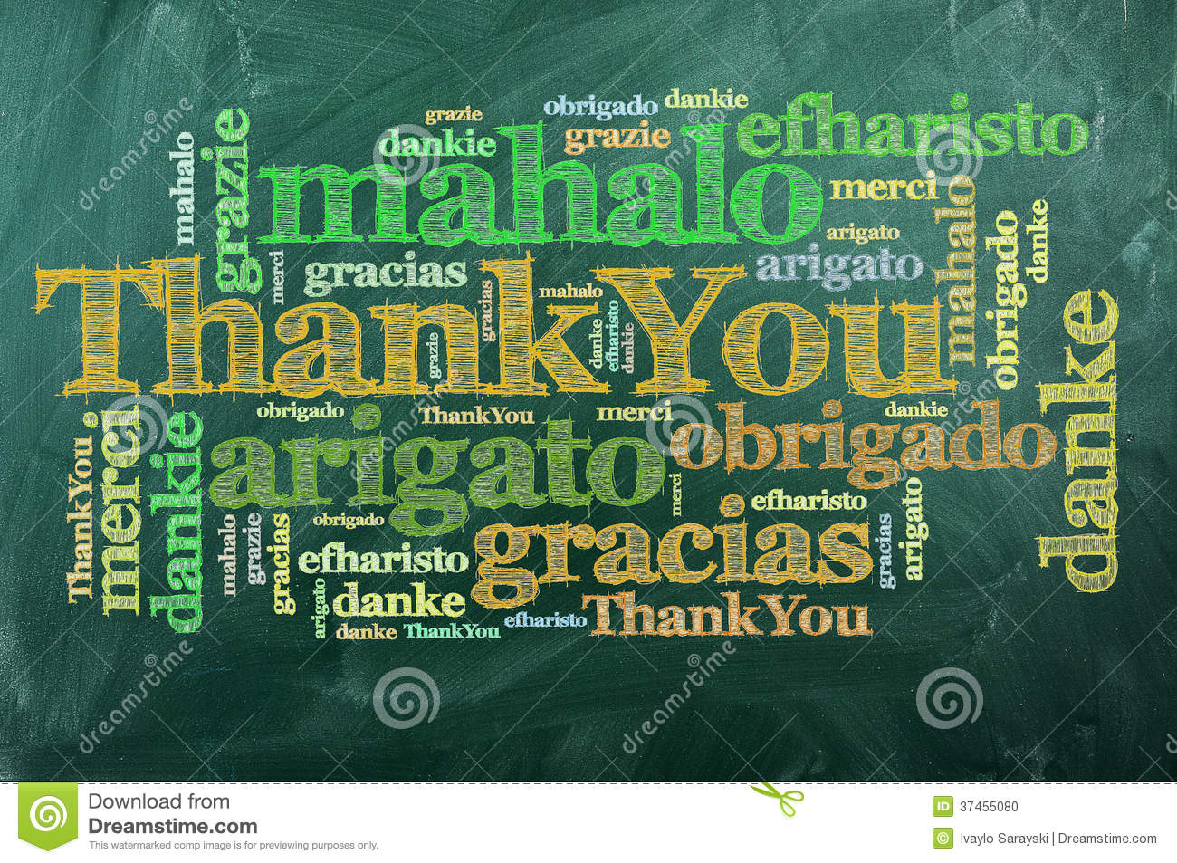 Thank you merci stock photo image 37455080 for Green in different languages