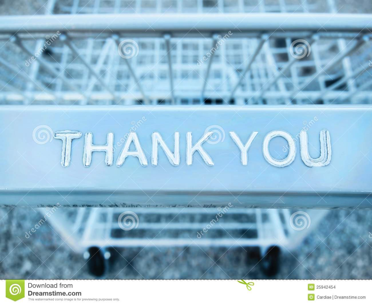 Thank You Message On A Shopping Cart Stock Photo Image Of