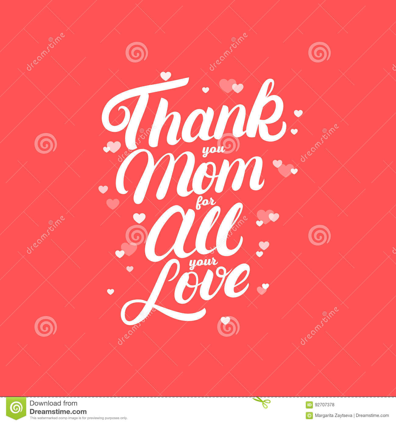 Thank you mom for all your love hand written lettering stock vector thank you mom for all your love hand written lettering paper motivating kristyandbryce Gallery