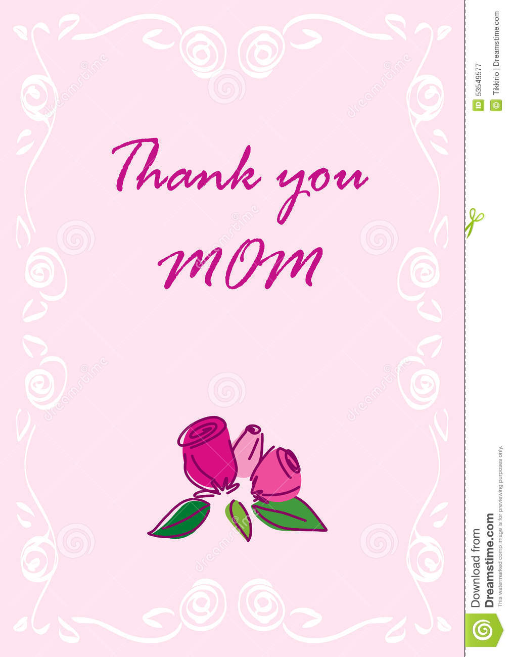 Thank you mom greeting card stock illustration illustration of thank you mom greeting card lettering rose m4hsunfo Images