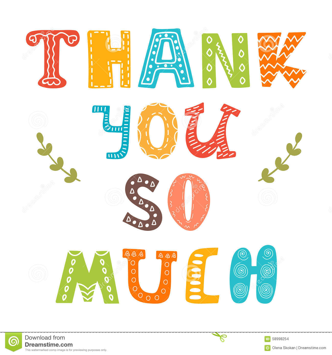 Thank You So Much. Cute Greeting Card Stock Vector - Image: 58998254