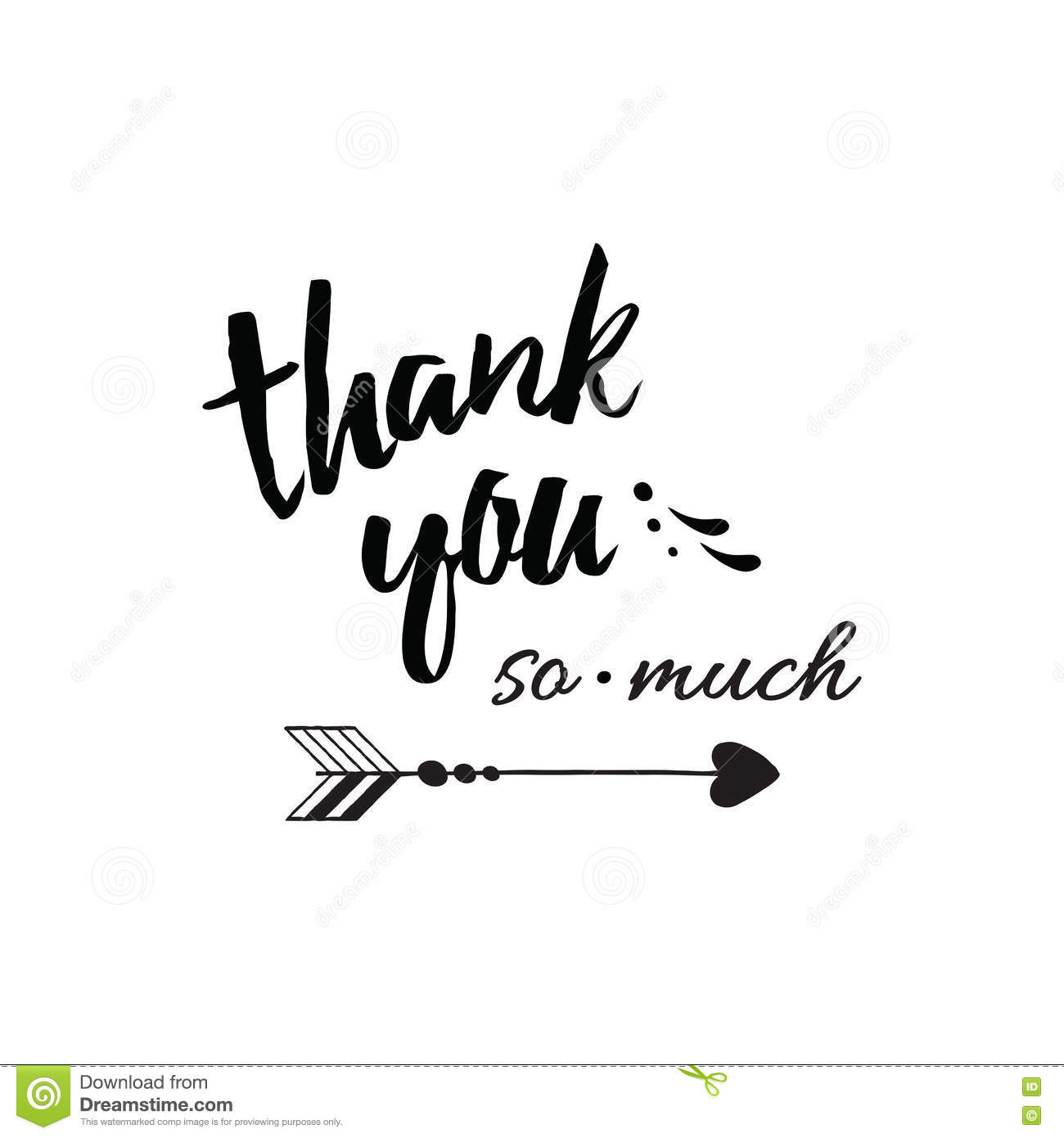Thank You So Much Typography Lettering Card On White Stock