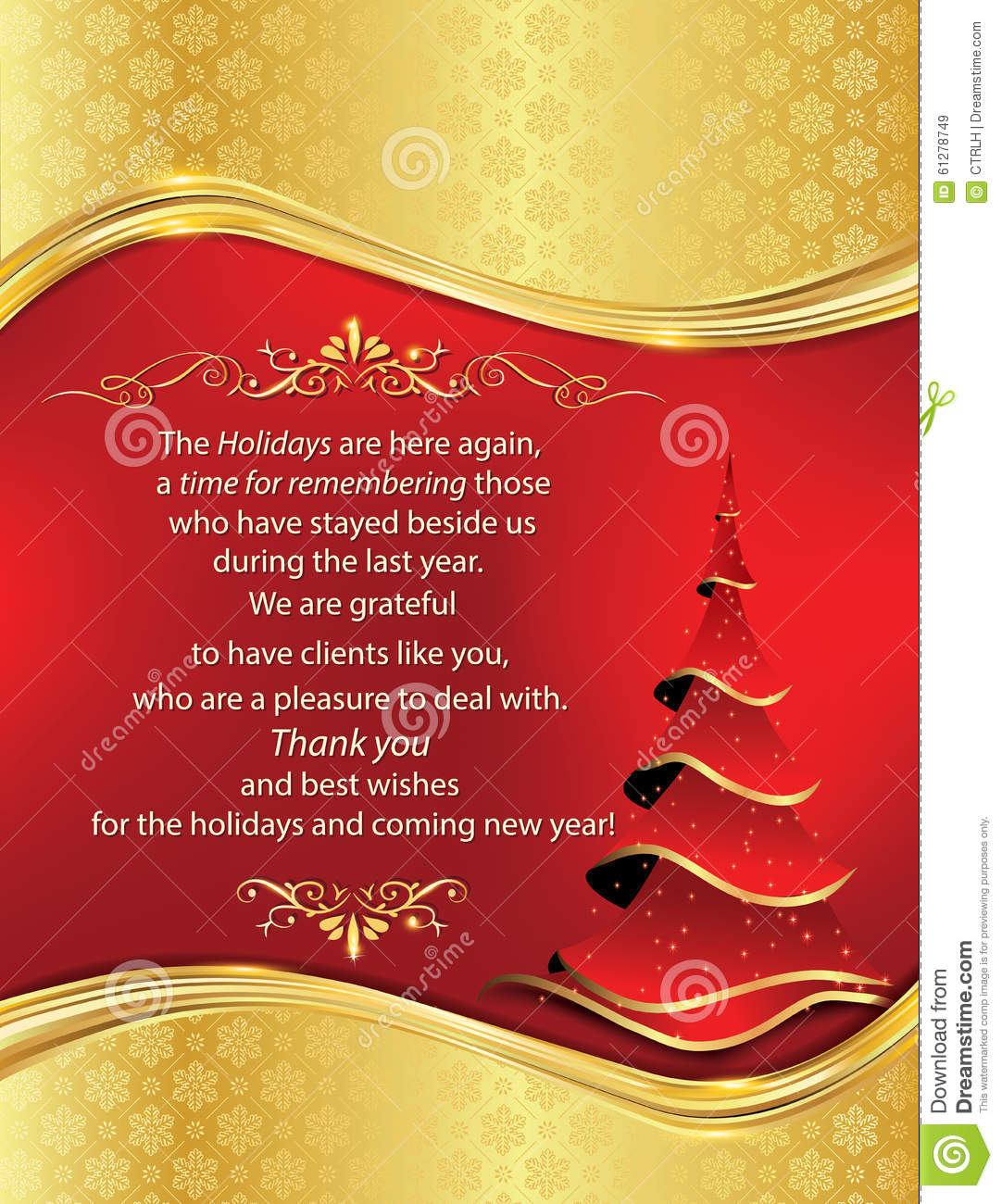 Thank You New Year Business Greeting Card Stock Vector