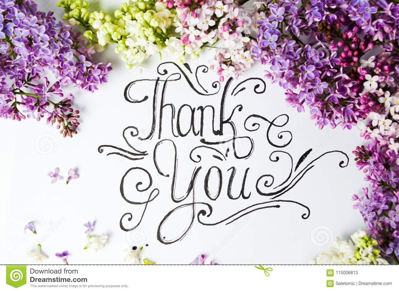 thank you note with purple lilac flowers