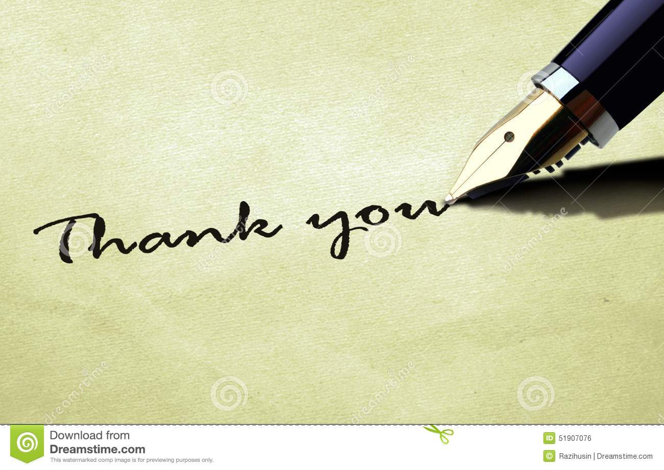 Thank you on old paper texture stock illustration image Thank you in calligraphy writing