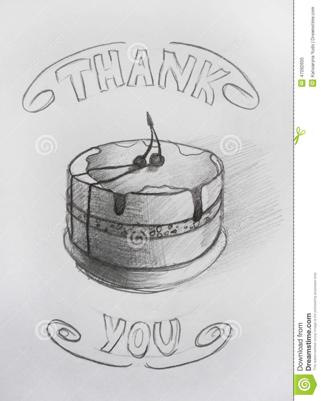 Thank you pencil drawing card