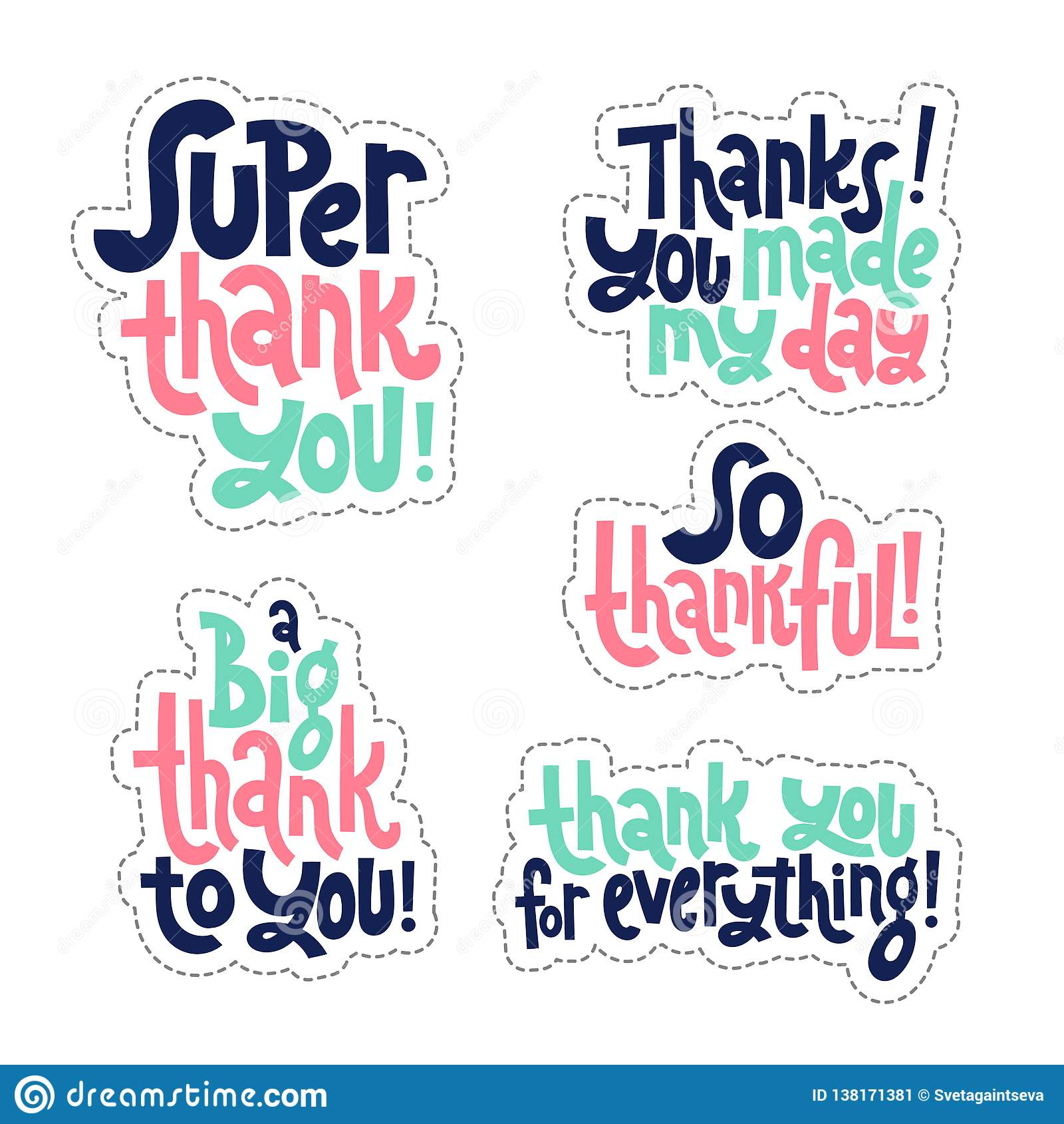 Thank You Quotes And Stickers Stock Vector Illustration Of Emblem