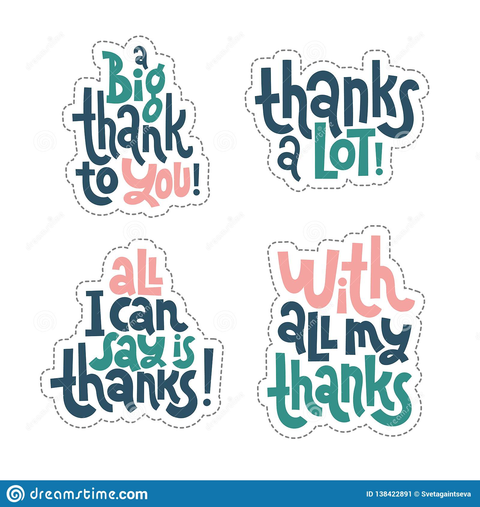 Thank You Quotes And Stickers Stock Vector Illustration Of Font