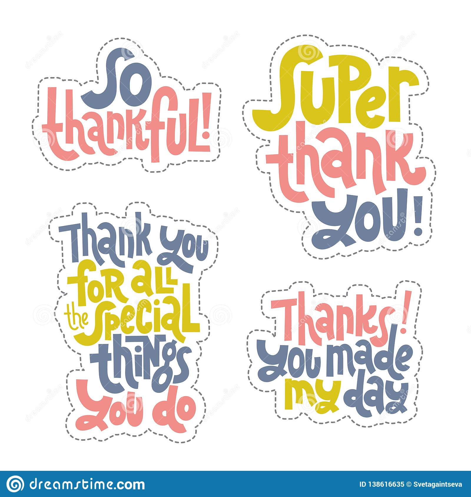 Thank You Quotes And Stickers Stock Vector Illustration Of Phrase