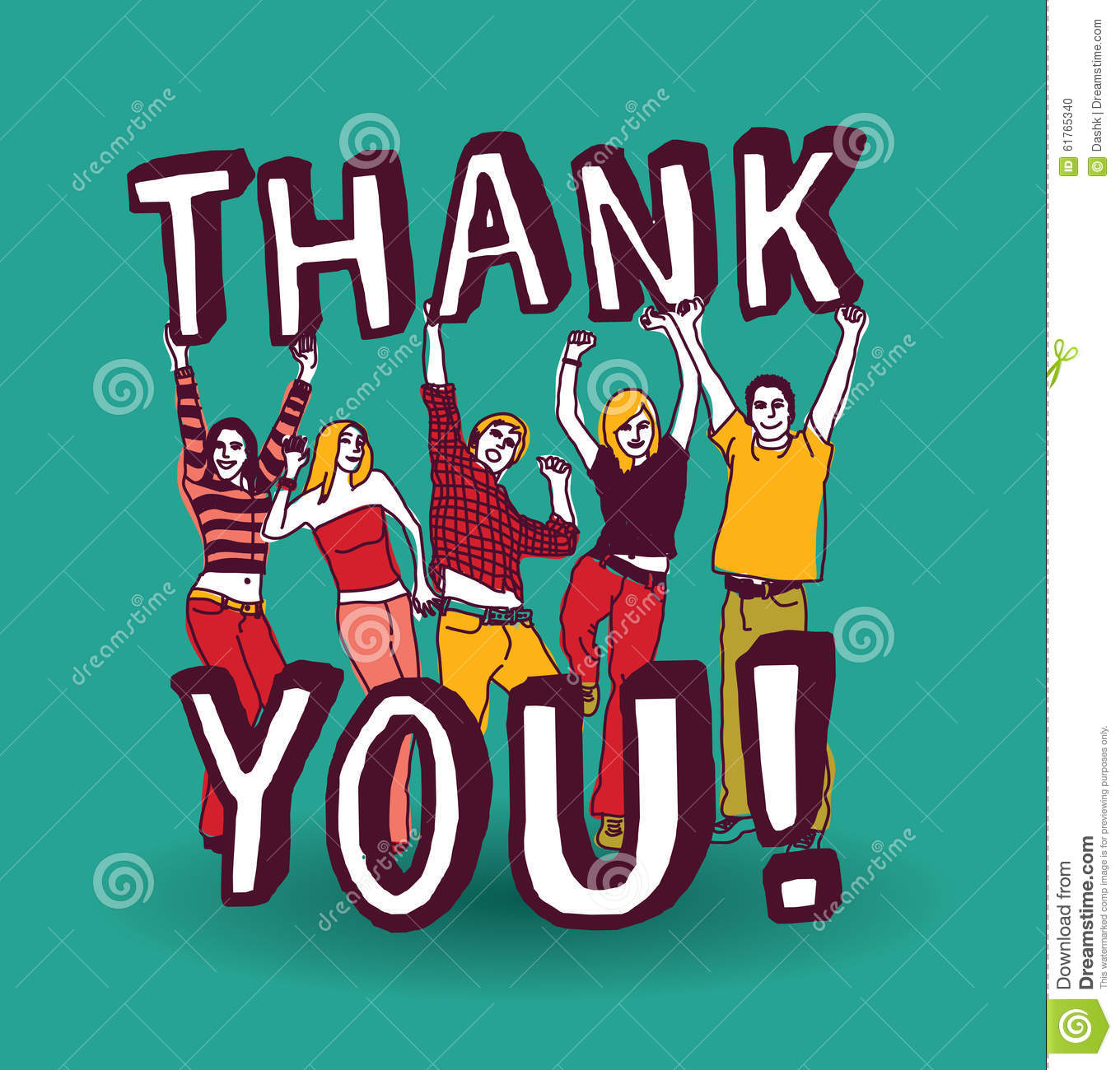 Thank You Sign With Group Happy People Stock Vector ...