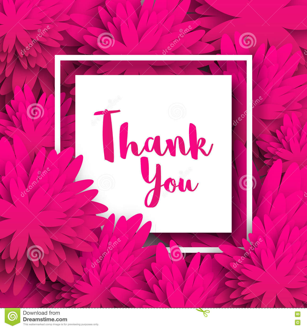 Thank You Spring Floral Card With Pink Origami Flowers Stock