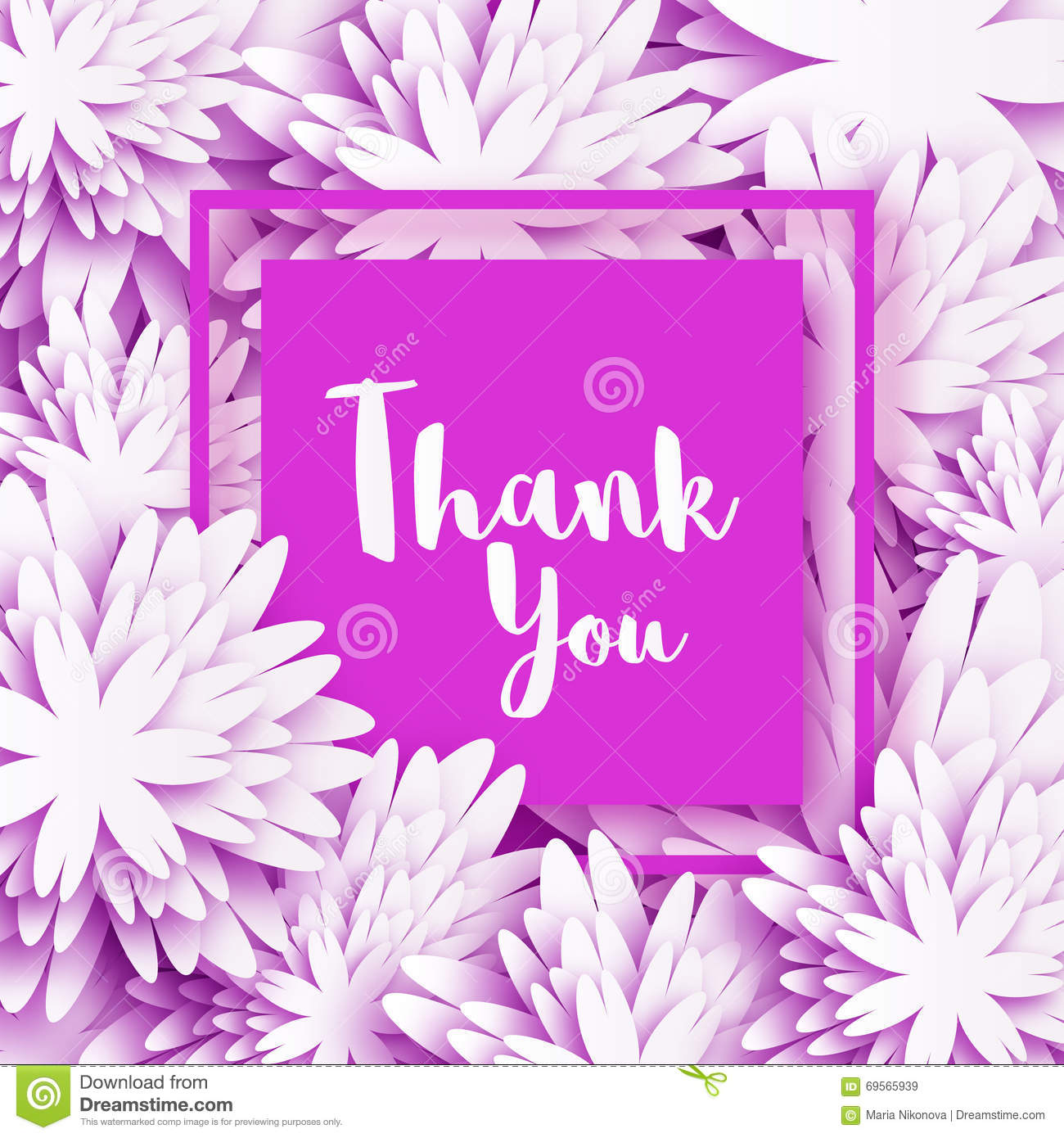 Thank You Spring Floral Card With White Origami Flowers Stock