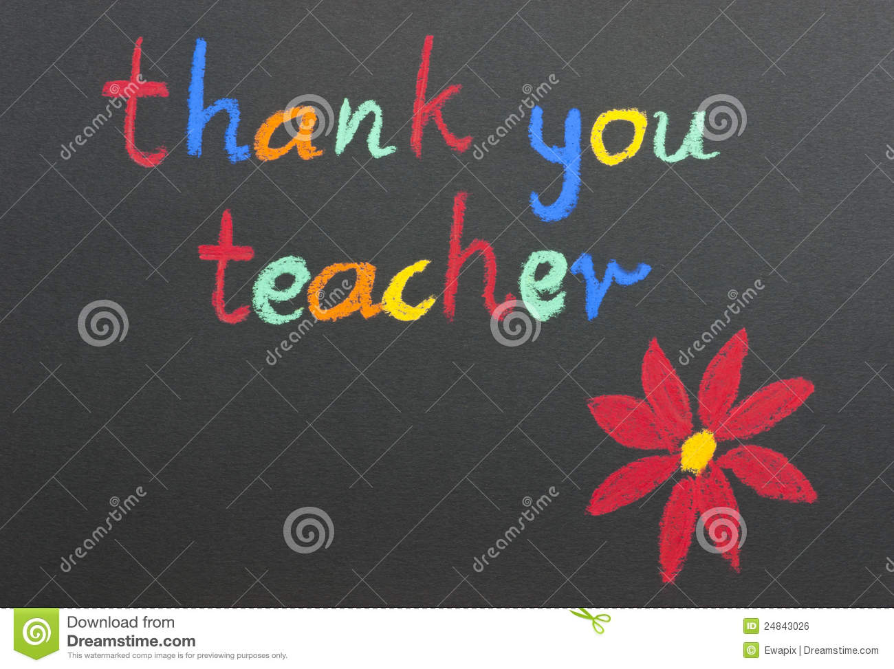 thank you teacher red flower stock photo image of school black