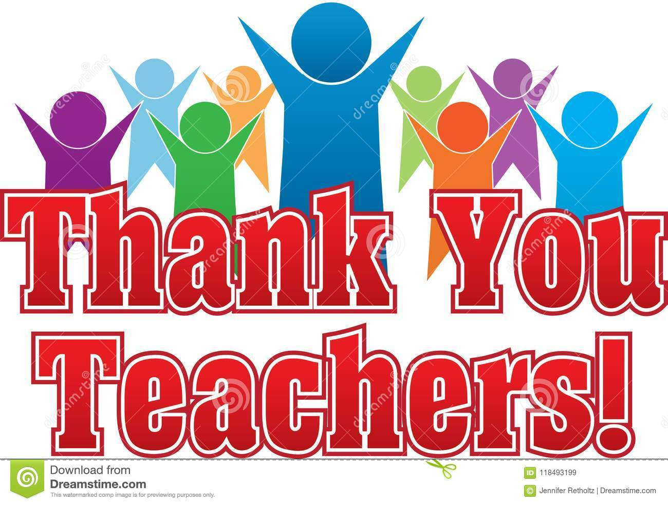 Thank You Teachers Colorful Graphic Stock Illustration