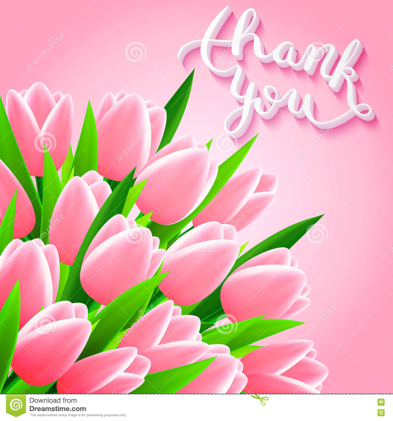 Beautiful Flower Thank You: Thank You With Tulip Flowers Stock Illustration