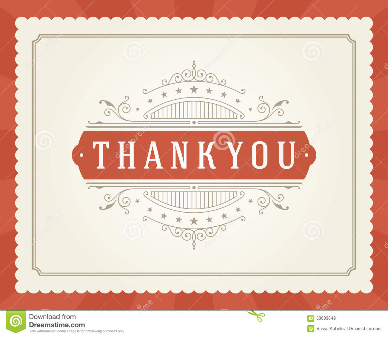 Thank You Typography Message Vintage Greeting Card Stock Vector ...