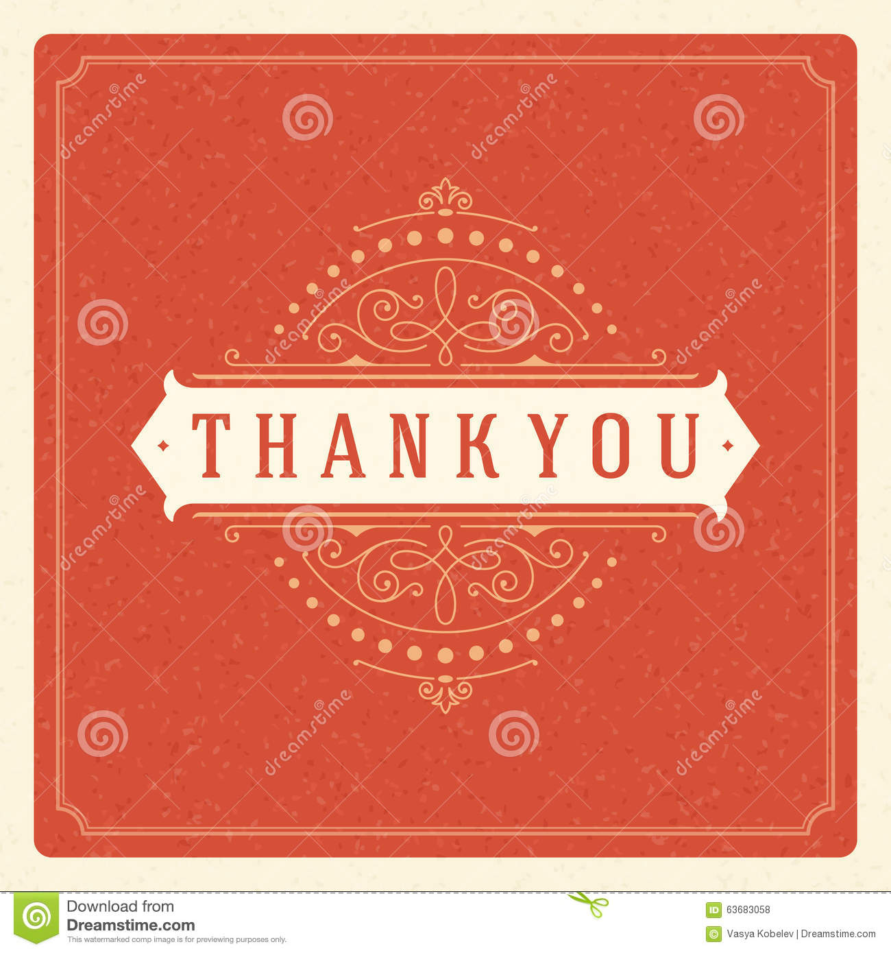 Thank You Typography Message Vintage Greeting Card Stock