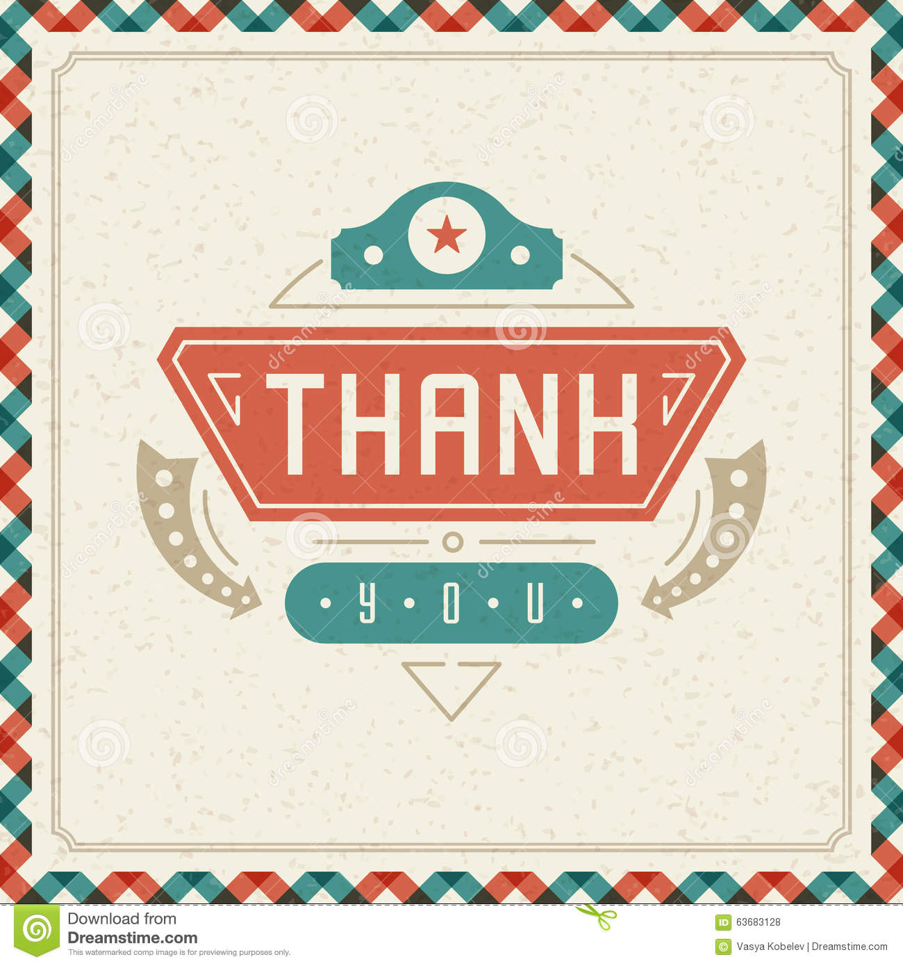 thank you typography message vintage greeting card stock vector image 63683128