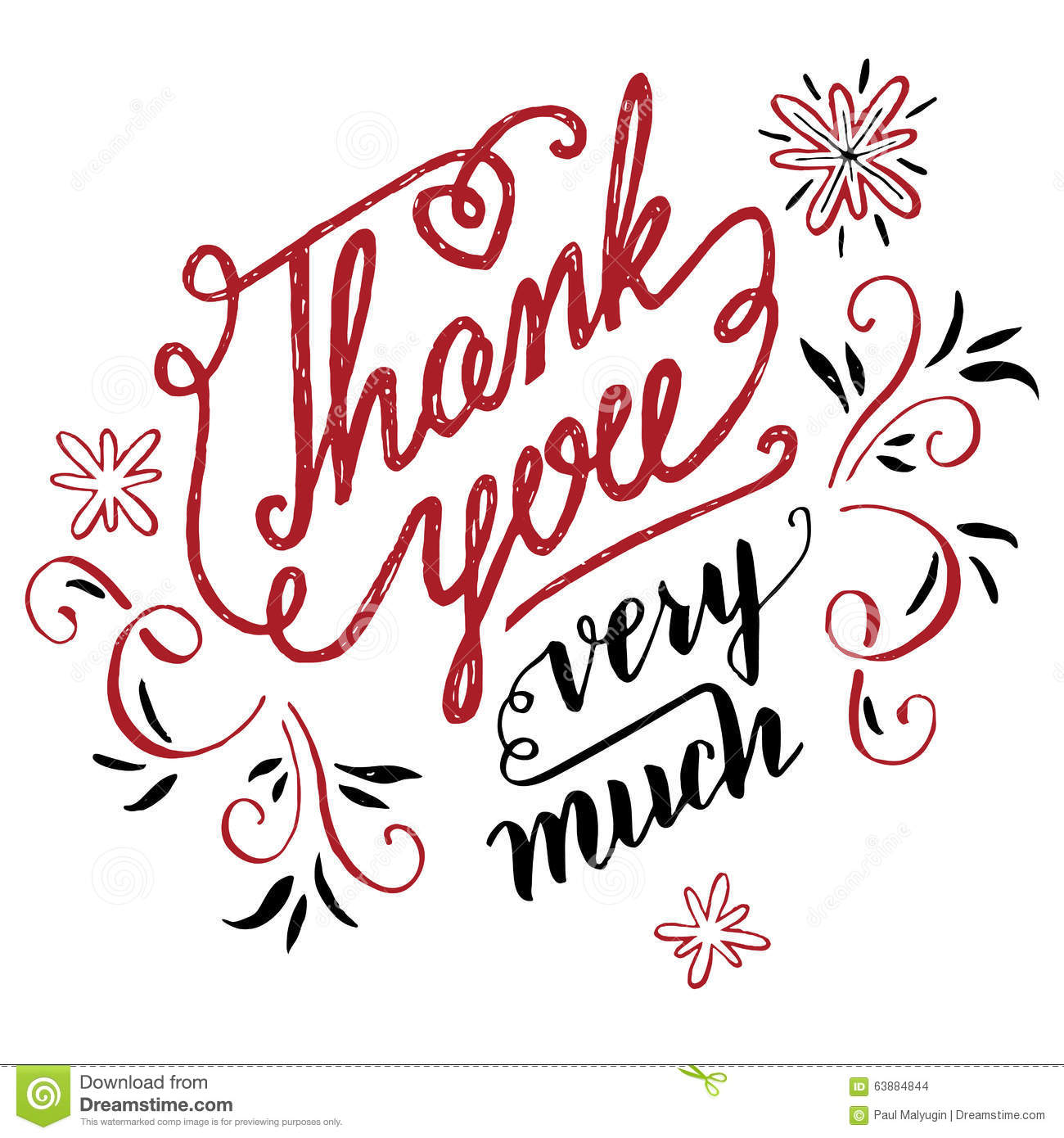 Thank You Very Much Calligraphy Stock Vector Image 63884844