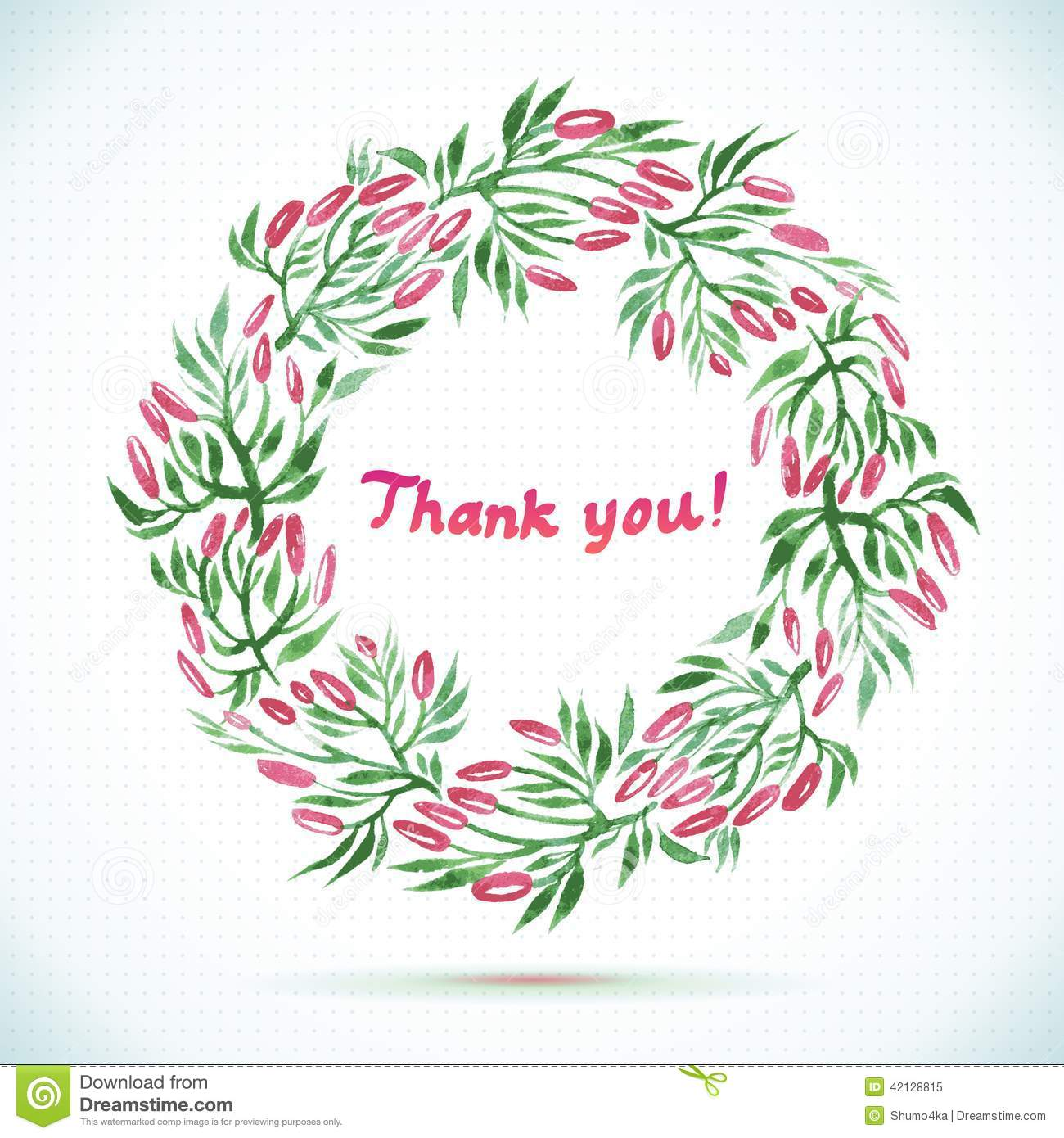 Thank You Watercolor Floral Wreath Card Stock Vector