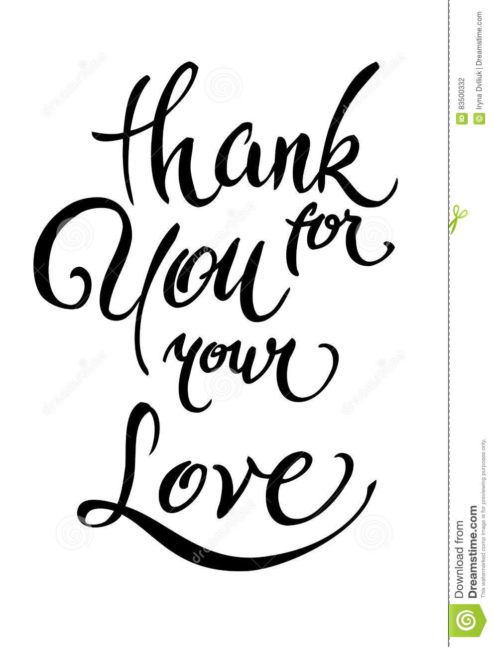 Thank You For Your Love Lettering Calligraphy Stock Vector