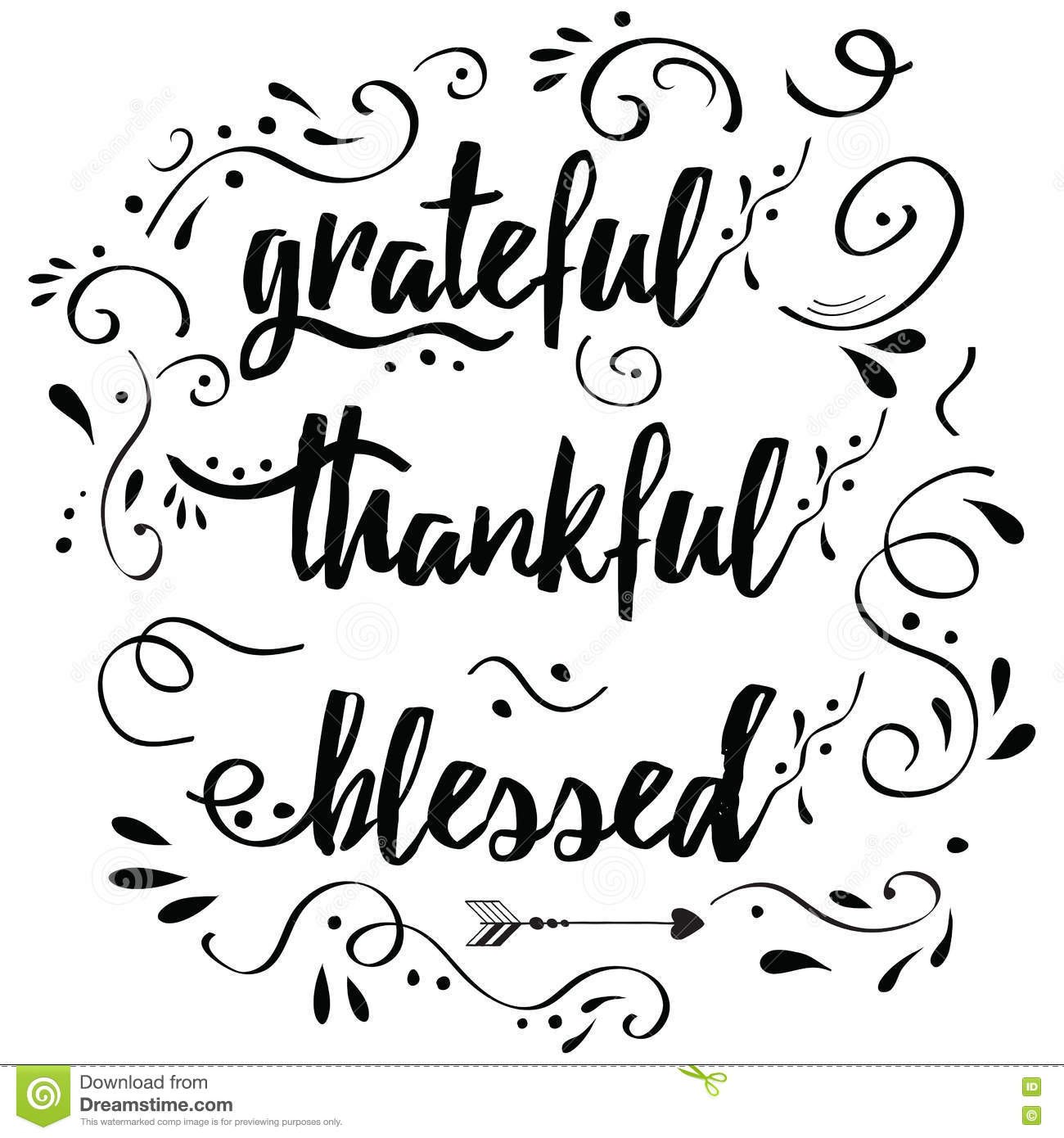 Thankful Grateful Blessed Vector Hand Drawn Card Decorated