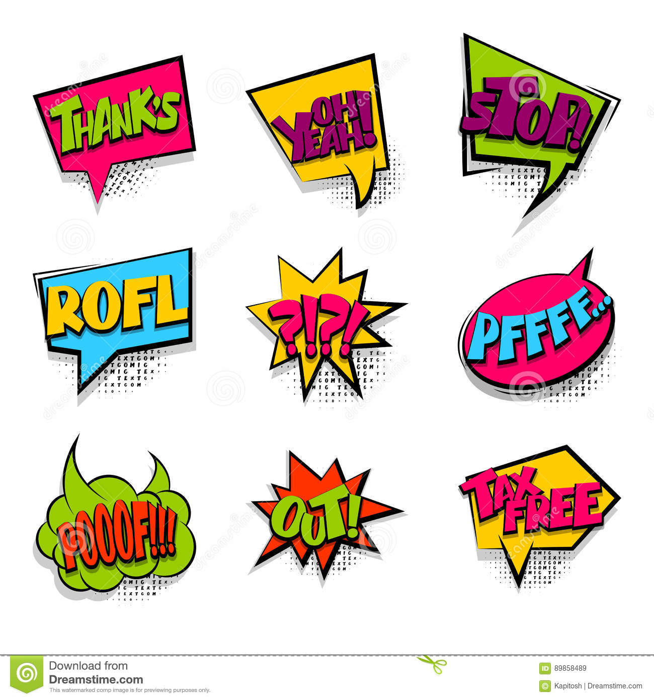 Thanks Tax Free Colored Comic Text Babble Stock Vector