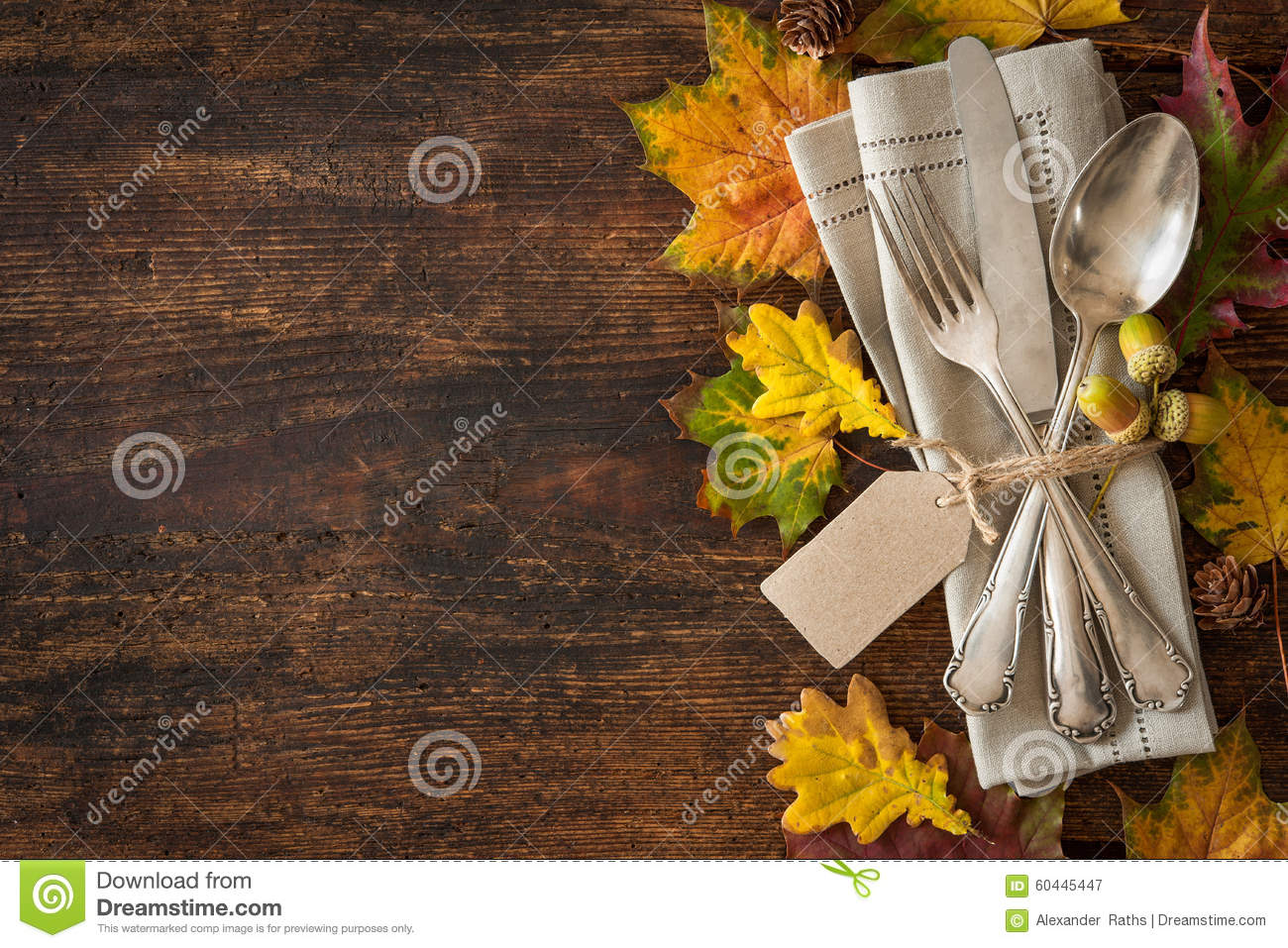 Thanksgiving autumn place setting stock photo image for Place setting images