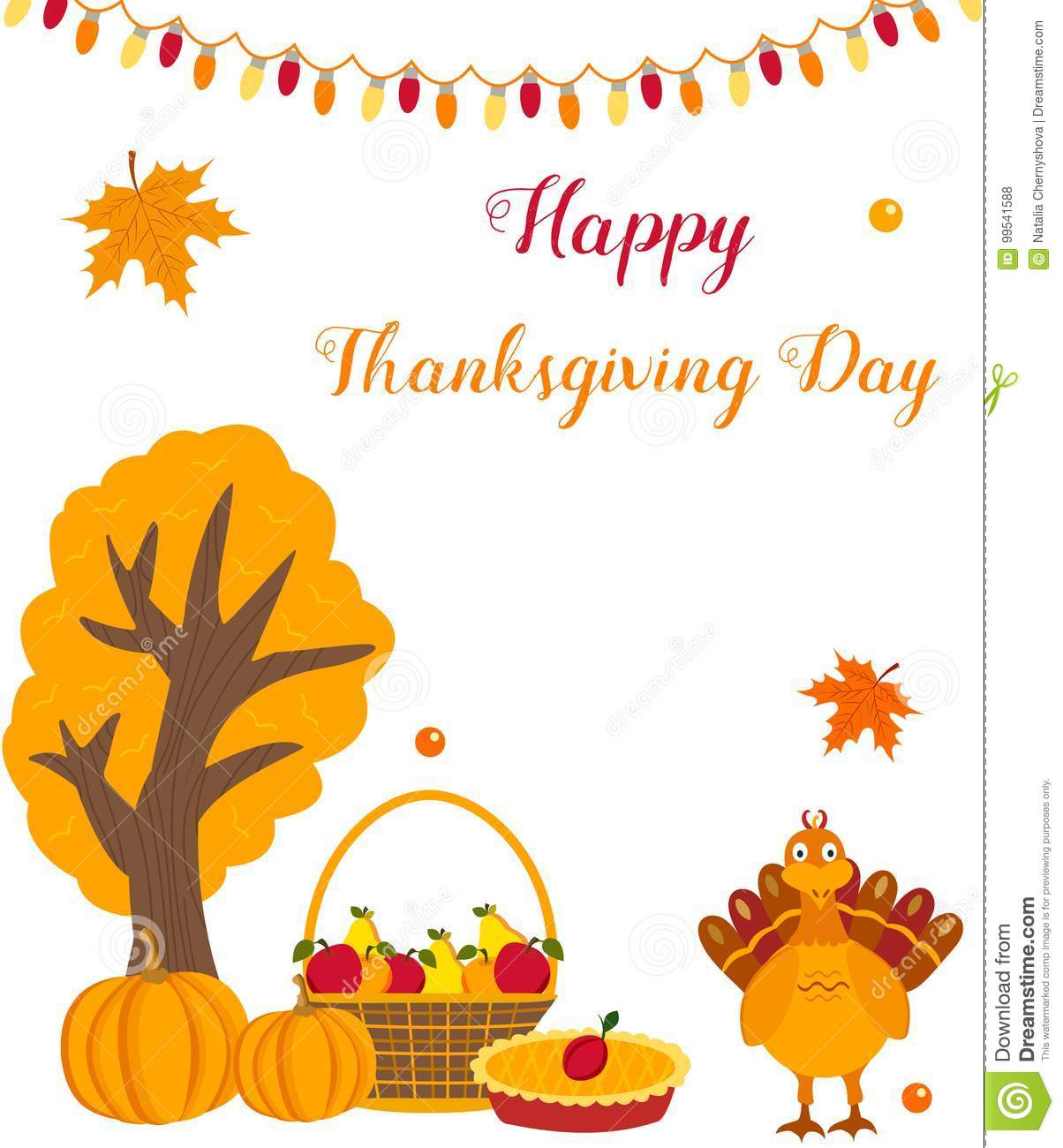 Thanksgiving Background With Funny Turkey Pumpkins And Fruits Stock