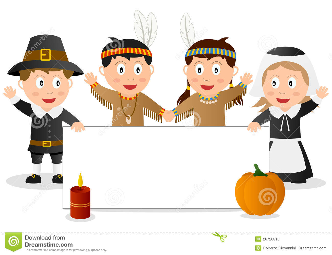 Thanksgiving Banner With Kids Stock Vector Illustration Of