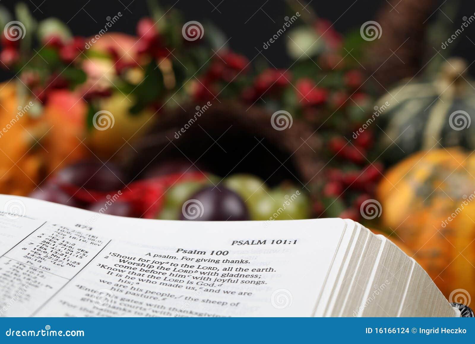 Thanksgiving Bible and cornucopia