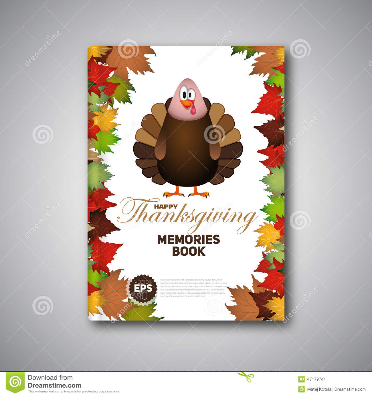 Thanksgiving Cookbook Cover : Thanksgiving book cover cartoon of turkey bird for happy