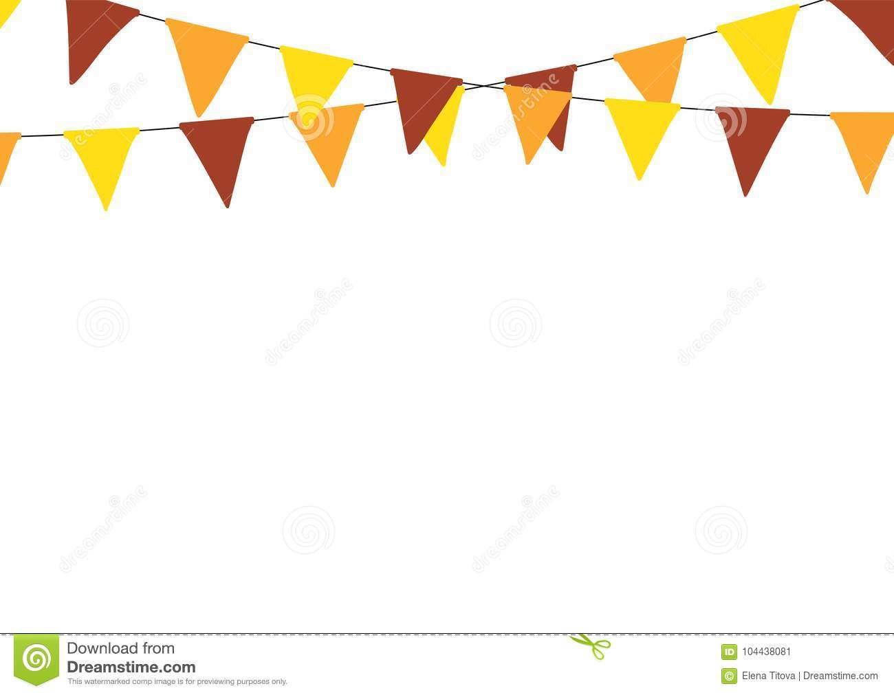 Thanksgiving Bunting Flags Holiday Decorations Vector Illustration