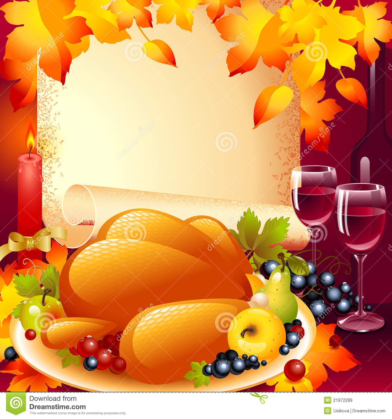 thanksgiving card background with turkey royalty free