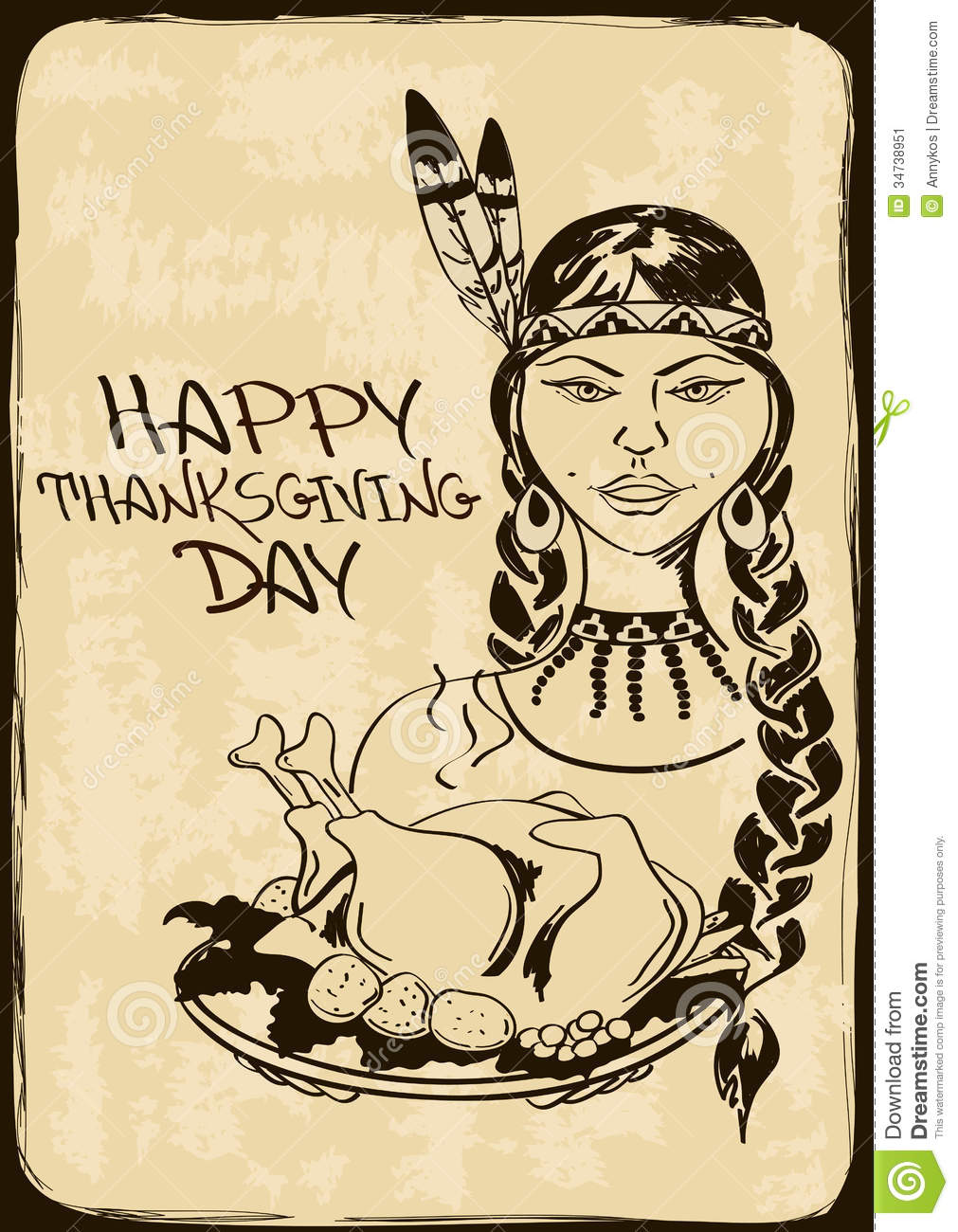 Thanksgiving Card With Native American Indian Girl Stock Vector