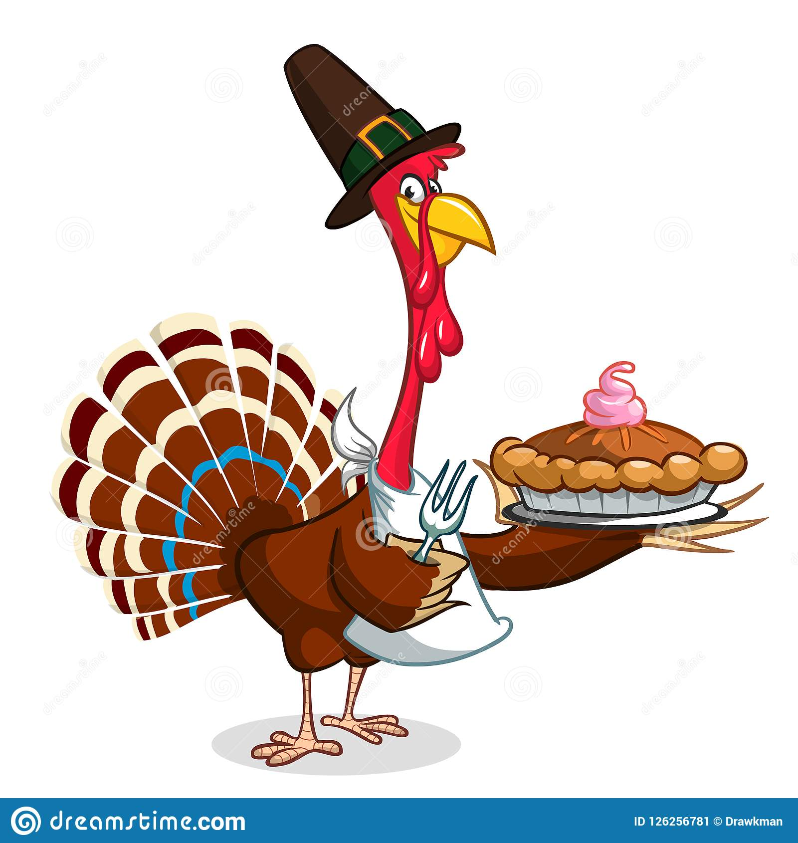 Thanksgiving Cartoon Turkey Bird Holding Fork And Pie Vector
