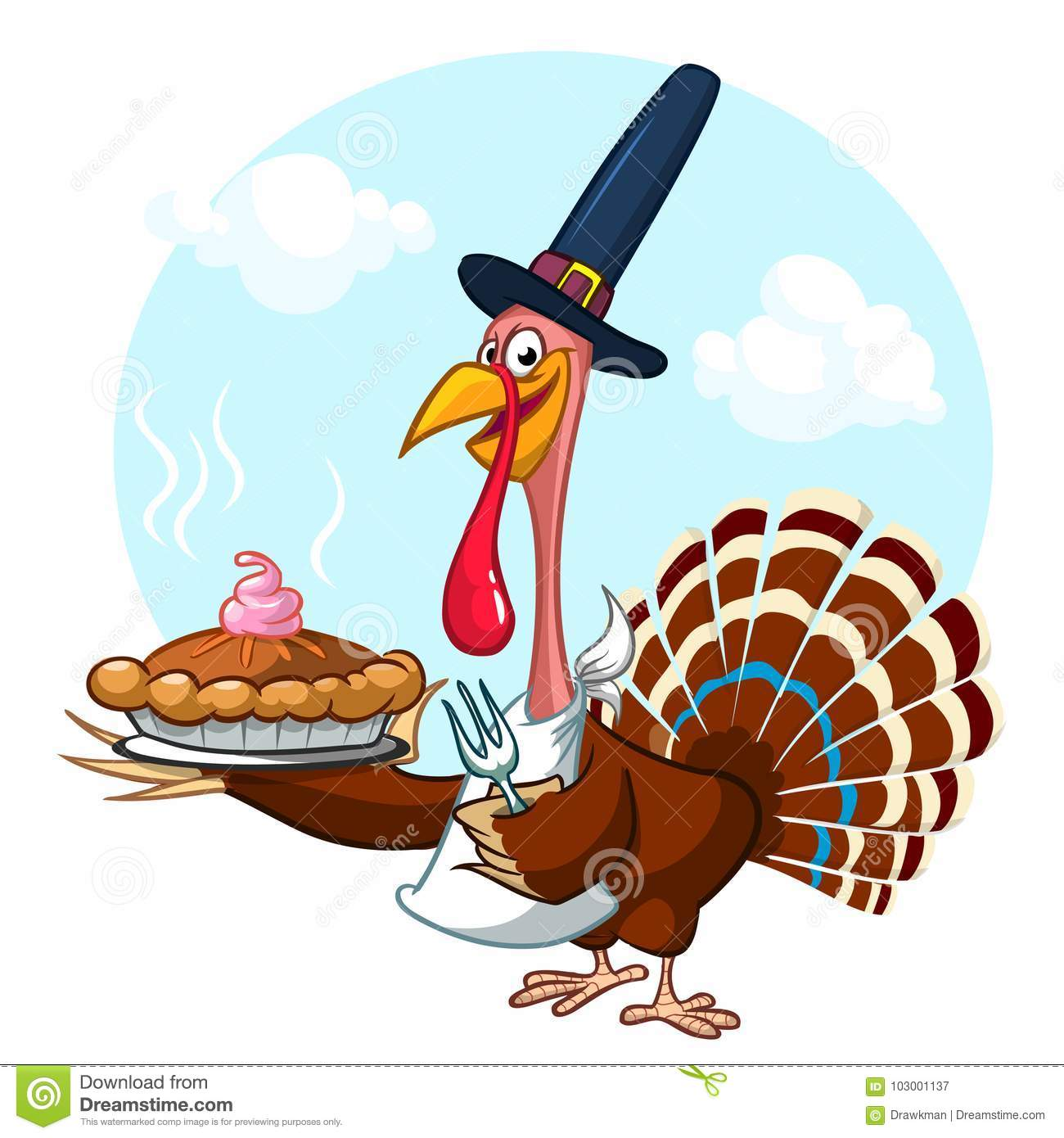 Thanksgiving Cartoon Turkey Holding Fork And Pie Isolated. Stock ...