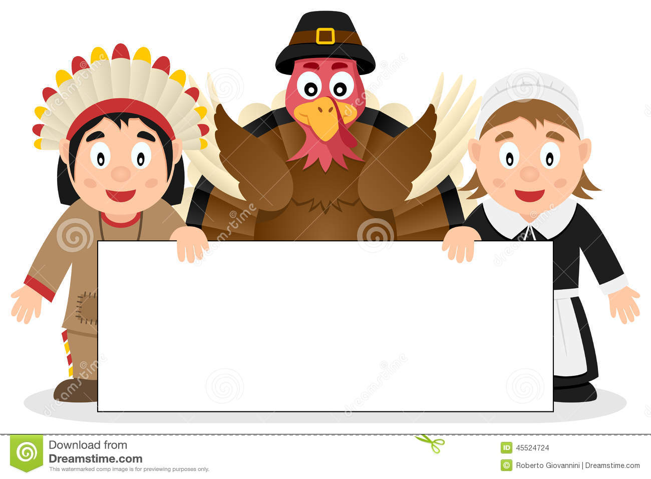thanksgiving characters with banner  2  stock vector pilgrim and indian clipart black and white Thanksgiving Clip Art