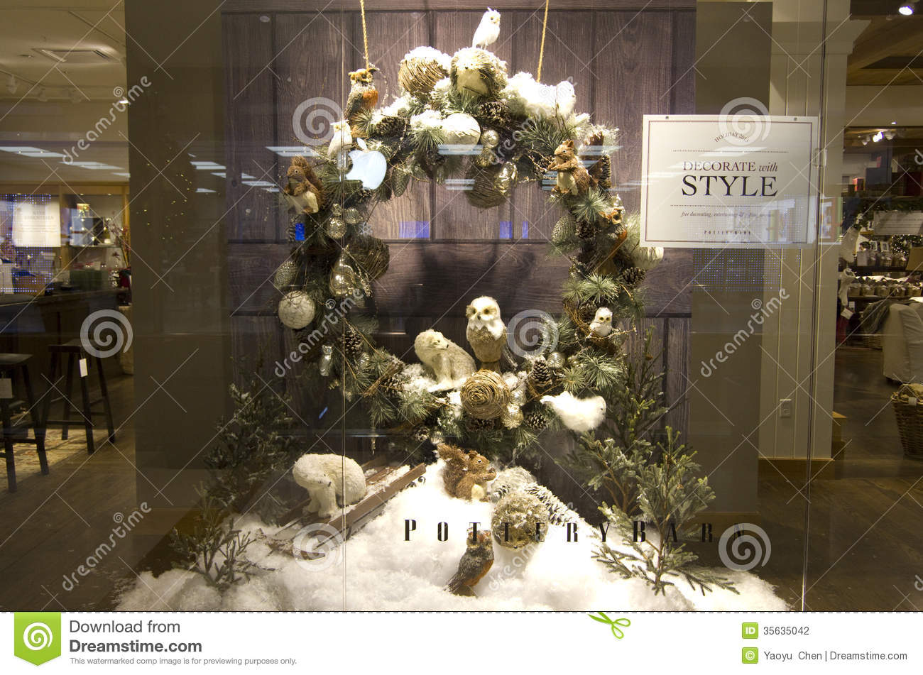 Thanksgiving Christmas Decorations Home Deco Store Window Editorial