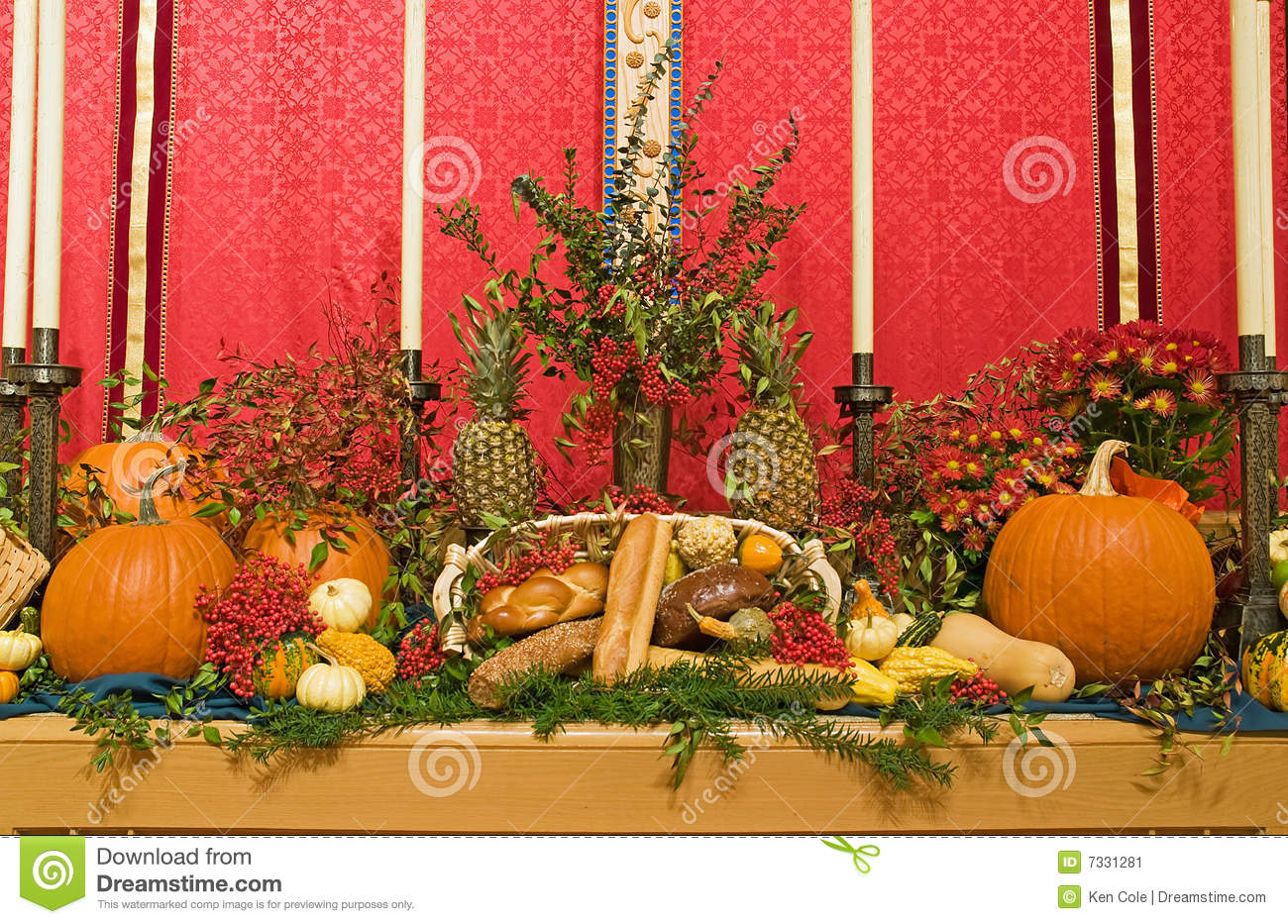 Thanksgiving church altar stock image of berries